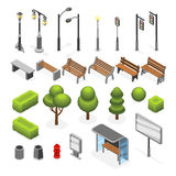 Isometric city street outdoor objects vector set Royalty Free Stock Photography