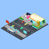 Isometric City. Supermarket Building with Parking Area, Bus Stop and Bicycle Places Royalty Free Stock Photography