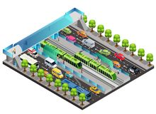 Isometric City Traffic Template. With moving vehicles tramway people trees and pedestrian bridge across road isolated vector illustration stock illustration