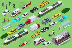 Isometric city transport with front and rear views. Trolley, plane, helicopter, bicycle, sedan, van, cargo truck, off. Road, bike, mini. Urban public and Royalty Free Stock Photography