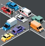 Isometric City Transport Template. With different cars and vehicles moving on crossroad and traffic lights vector illustration Stock Images