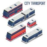 Isometric City Transportation Bus Set Royalty Free Stock Photos