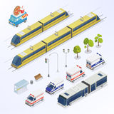 Isometric City. Urban Elements. Isometric Bus. Isometric Train. Stock Photos
