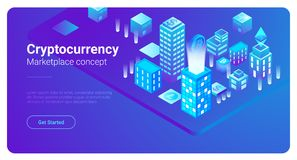 Isometric City vector Blockchain Cryptocurrency Ma. Isometric Smart City Skyscrapers Buildings abstract vector illustration.  Blockchain Cryptocurrency Royalty Free Stock Photography