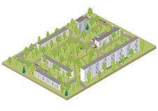 Isometric city. Vector 3D isometric color city Stock Photography