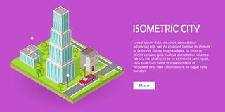 Isometric City Vector Web Banner Stock Images