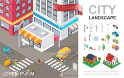 Isometric Cityscape Composition royalty free illustration