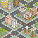 Isometric Cityscape. Isometric Buildings. Isometric Houses Stock Images
