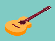 Isometric classical acoustic guitar icon Royalty Free Stock Images