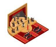 Isometric Classical Opera Performance Concept. With female singer and musicians on stage in front of audience isolated vector illustration stock illustration