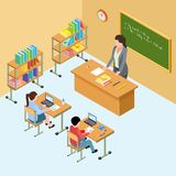Isometric classroom with teacher and kids. High school vector illustration vector illustration