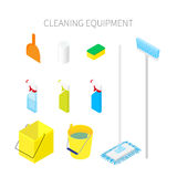 Isometric cleaning equipment isolated. On white background. Vector illustration Stock Image