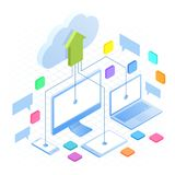 Isometric Cloud Computing Concept in outline isolated on white. Cloud computing services and technology, data storage. Technology Service line design web stock illustration