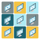 Isometric cloud computing concept. Set of desktop computers with cloud icons. Royalty Free Stock Photos