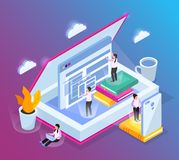 Isometric Cloud Library Background. Online library isometric composition with conceptual images of opened book computer windows and small people characters vector illustration