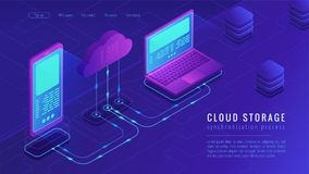 Isometric cloud storage landing page concept. Stock Image