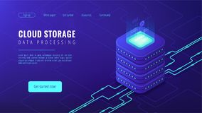 Isometric cloud storage landing page concept. Isometric cloud storage data processing landing page concept. Collection and manipulation, recording, organisation Stock Photos