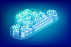 Isometric cloud technology concept vector illustration