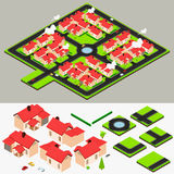 Isometric Cluster House Collection Set Stock Image
