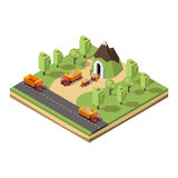 Isometric Coal Extraction Concept Royalty Free Stock Photography