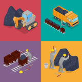 Isometric Coal Industry with Workers in Mine, Excavator  and Equipment Stock Images