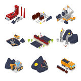 Isometric Coal Industry with Workers in Mine with Excavator, Miner and Equipment. Vector flat 3d illustration royalty free illustration