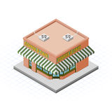 Isometric Coffee and Cafe Building Vector Illustration Stock Photography