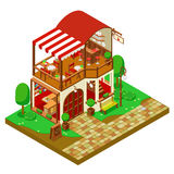 Isometric coffee shop with furniture and trees Stock Image
