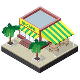 Isometric coffee shop with tables, chairs and palm trees. Vector illustration for design of some game applications Royalty Free Stock Photography