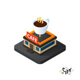 Isometric coffeehouse cafe icon, building city infographic element, vector illustration. Isometric coffeehouse cafe flat icon  on white background, building city Stock Photo