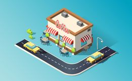 Isometric coffeehouse with road, traffic, taxi cars. 3D vector illustration. vector illustration