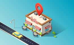 Isometric coffeehouse with road, traffic, taxi cars and location pin. 3D vector illustration. royalty free illustration
