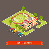 Isometric college campus or school building. With soccer field in the courtyard and parking lot. Flat style vector illustration  on white background Royalty Free Stock Image