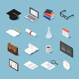 Isometric college objects set. Isometric college student vector set: graduation cap, laptop, stack of books,glasses, piece of paper, diploma, test-tube, calendar Royalty Free Stock Image