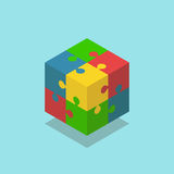 Isometric color cube puzzle Stock Photography