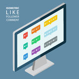 Isometric color like, follower, comment icons. Isometric desktop computer. Stock Image