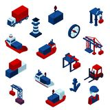 Isometric  Color Seaport Icons  Set. Isometric  Color seaport  icons set with barge containers and port facilities isolated  illustration Royalty Free Stock Photos