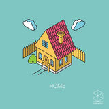 Isometric color vector icon House  on a blue background Stock Photo