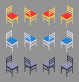Isometric colored chairs Royalty Free Stock Photos