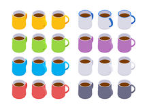 Isometric colored coffee mugs Royalty Free Stock Photos