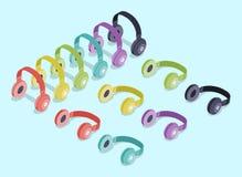 Isometric colored headphones Stock Images