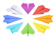 Isometric colored paper planes Royalty Free Stock Photos