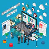 HR Management Composition. Isometric colored recruitment hiring HR management people composition with recruitment agency description vector illustration Stock Photo