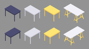 Isometric colored tables stock illustration