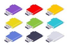 Isometric colored USB flash-drives Royalty Free Stock Images