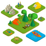 Isometric Colorful Active Recreation Concept. With people camping hiking water and nature elements  vector illustration Royalty Free Stock Image