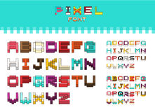 Isometric colorful alphabet font. 3D isometric letters for web a Royalty Free Stock Photos