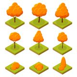 Isometric colorful autumn trees set. Yellow orange fall tree and autumnal garden flat illustration. For infographics. Game, and design stock illustration