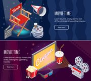 Isometric Colorful Cinema Horizontal Banners. Isometric colorful cinematography horizontal banners with movie production and cinema entertainment elements vector Stock Image