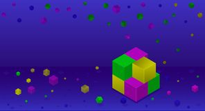 Isometric colorful cubes on the dark blue background. Building block of cubes. Isometric colorful cubes on the dark blue background. Falling dawn cubes. Place Vector Illustration